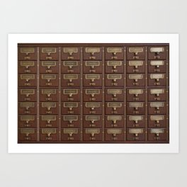 Vintage Library Card Catalog Drawers 2017 Calendar Art Print