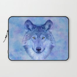 Sky blue wolf with Golden eyes Laptop Sleeve