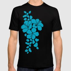 Hibiscus Animal: Caribbean Blue Black Mens Fitted Tee MEDIUM