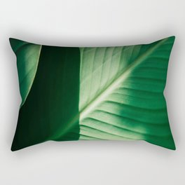 Close Up Of Green Tropical Textured Leaf Rectangular Pillow