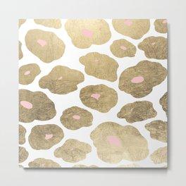 Elegant pink faux gold abstract leopard animal print Metal Print