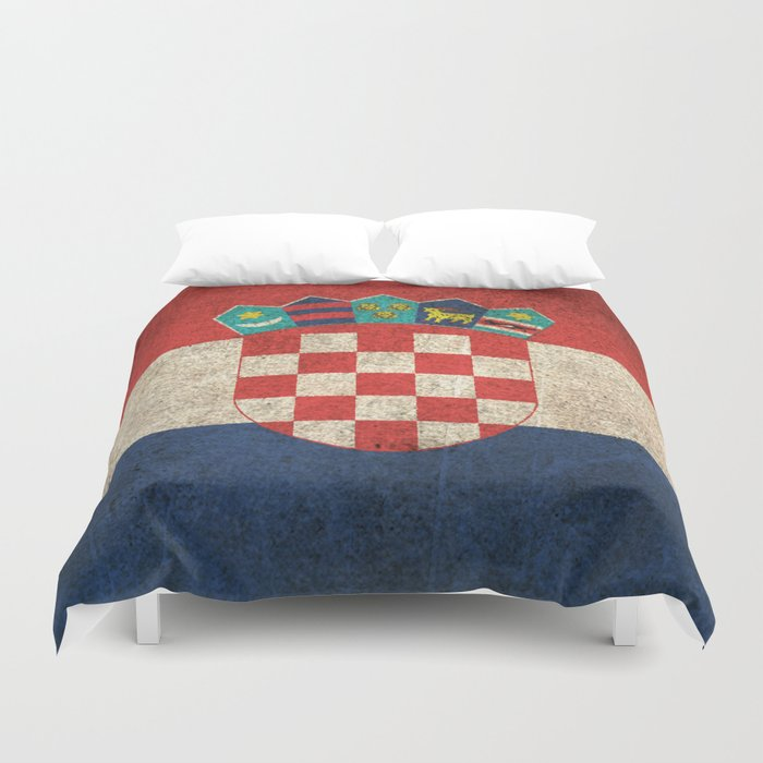 Old and Worn Distressed Vintage Flag of Croatia Duvet Cover