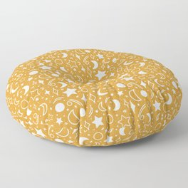Galaxy sky pattern with moons and stars mustard yellow color Floor Pillow