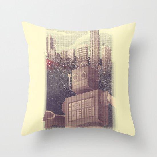 A City Snow-Bot Throw Pillow