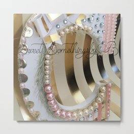 Hand-Crafted Monogram decor letter for Nursery with pearls rhinestone ribbon Pink A B C... etc Metal Print