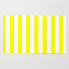 Narrow Vertical Stripes - White and Yellow Rug
