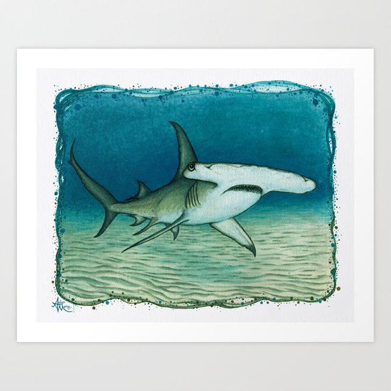 """Great Hammerhead Shark"" by Amber Marine ~ Watercolor Painting, (c) 2016 Art Print"