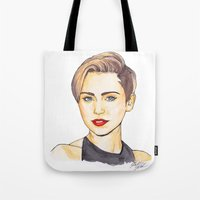 miley Tote Bags featuring Miley by Kaitlin Polak