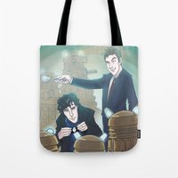 enerjax Tote Bags featuring Sherlock and Ten by enerjax