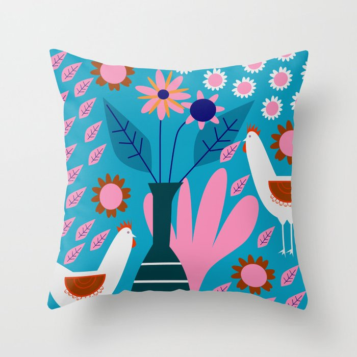 Hens in floral rain Throw Pillow
