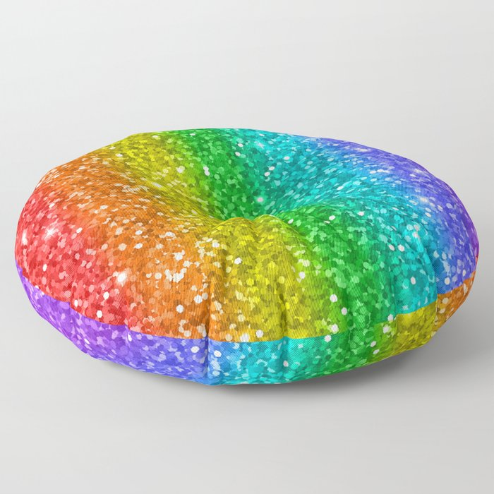 Glittery Rainbow Floor Pillow