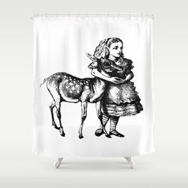 Alice and the Fawn in Black with Transparent Background Shower Curtain