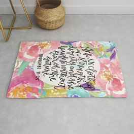 Proverbs 31:25 Floral // Hand Lettering Rug