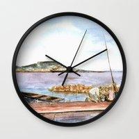 fishing Wall Clocks featuring Fishing by Vargamari