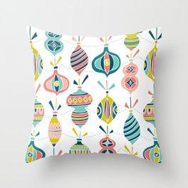 Decorated White Throw Pillow