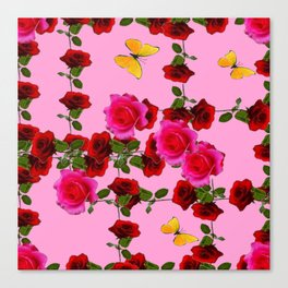 CLIMBING PINK & RED ROSES YELLOW BUTTERFLIES Canvas Print