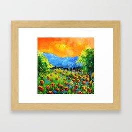 Red poppiesin Houyet Framed Art Print