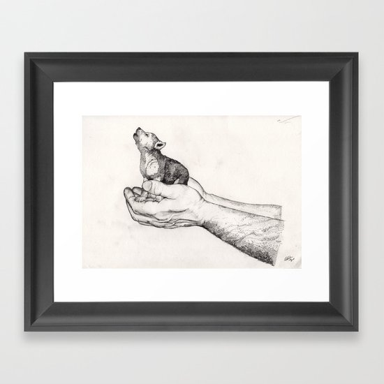 Wolf Cub // Graphite Framed Art Print