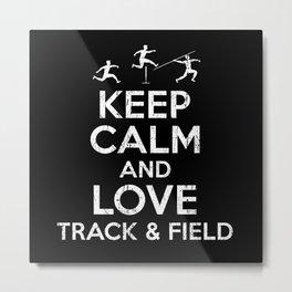 Keep Calm Track And Field Metal Print