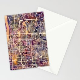 Memphis Tennessee City Map Stationery Cards
