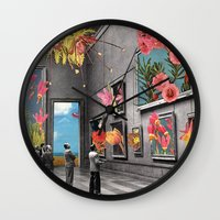 grey Wall Clocks featuring Natural History Museum by Eugenia Loli
