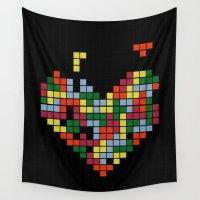tetris Wall Tapestries featuring Tetris Love by Alisa Galitsyna