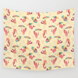 A Chance of Rain - Coral & Cream Wall Tapestry
