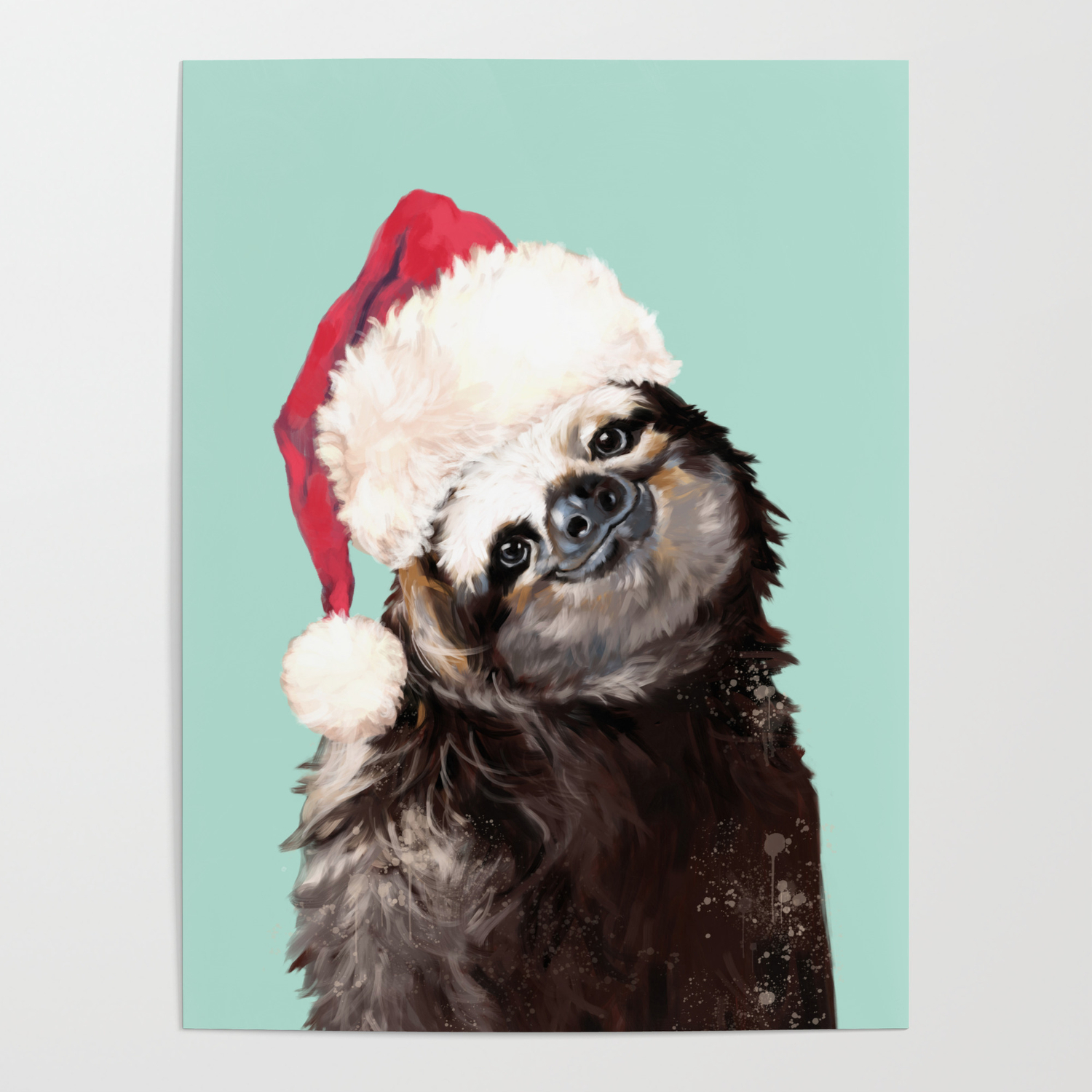Christmas Sloth.Christmas Sloth In Green Poster By Bignosework