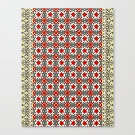V12 Red Traditional Moroccan Rug Pattern. Canvas Print