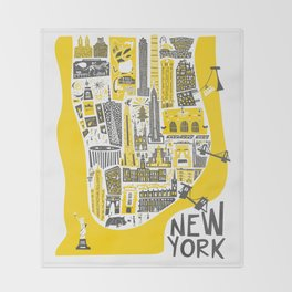 Manhattan New York Map Throw Blanket