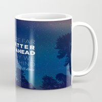 """pocketfuel Mugs featuring CS Lewis """"Better Things Ahead"""" by Pocket Fuel"""