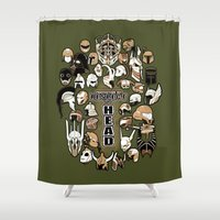 fandom Shower Curtains featuring Helmets of fandom - respect the head! by CaptainLaserBeam