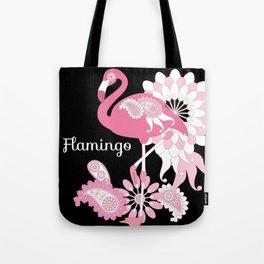 Pink Flamingo Girly Cute Black Tote Bag