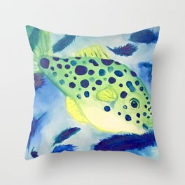 Swimming in a Sea of Feathers Throw Pillow