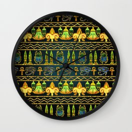 Egyptian Colorful Pattern in gold and metallic Wall Clock