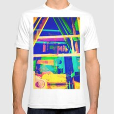 Industrial Abstract Blue MEDIUM Mens Fitted Tee White