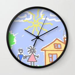 child's drawing with happy family Wall Clock