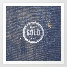 Blue Denim Jeans Texture Cool Fashion Fabric Print Art Print