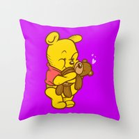 pooh Throw Pillows featuring Pooh And Teddy by Artistic Dyslexia