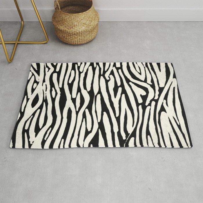 Zebra Stripes Tribal Black And Cream Rug