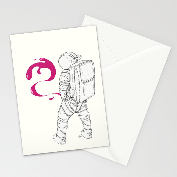 P{ee}ink in Space Stationery Cards