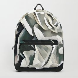 White Azalea Flower with Green Leaves Backpack
