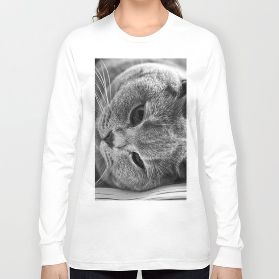 Cat Black white 3 Long Sleeve T-shirt