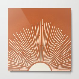 Terracota Minimalist Sun Metal Print