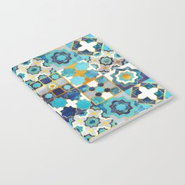 Spanish moroccan tiles inspiration // turquoise blue golden lines Notebook
