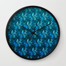 blue pattern with octopuses Wall Clock