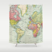 political Shower Curtains featuring Vintage Political Map of The World (1922) by BravuraMedia