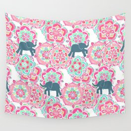Tiny Elephants in Fields of Flowers Wall Tapestry