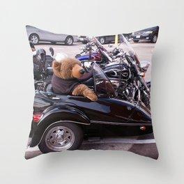 Bear in a Sidecar Throw Pillow