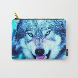 Blue wolf face Carry-All Pouch